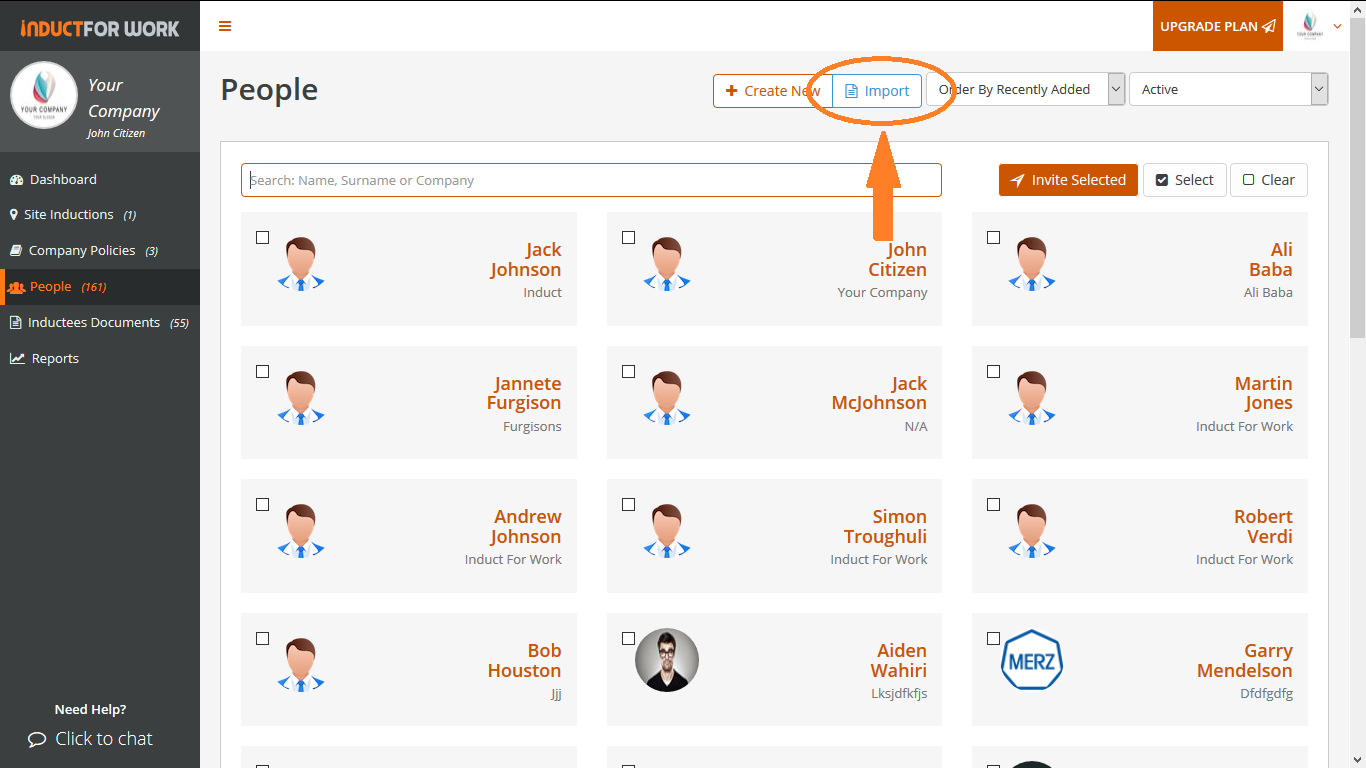 Online Inductions: How to import employee profiles