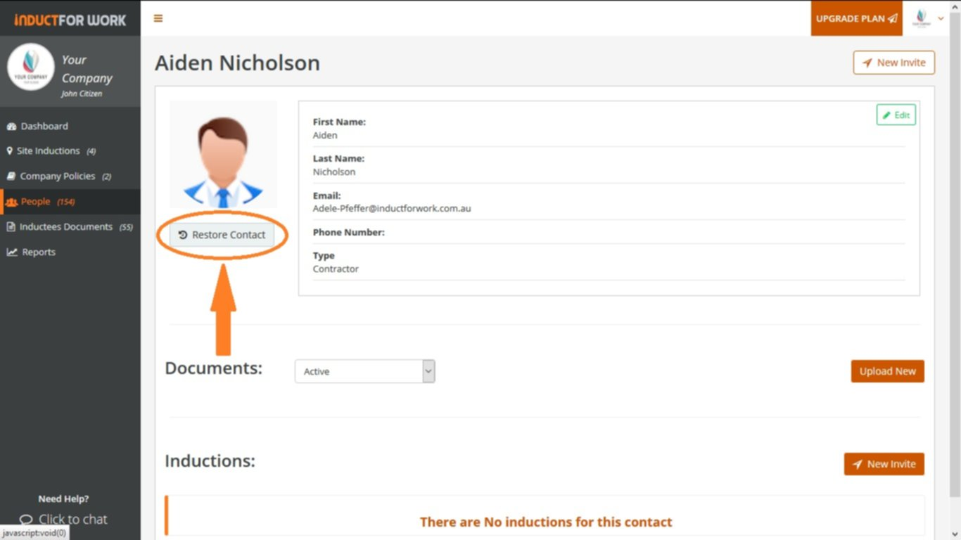 Online Inductions How to restore an archived profile